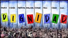 Karicatur von Vladdo: ,Una misma consigna... dignidad' (,immer derselbe Losungsword... Würde') über die Demonstrationen in verschiedene Länder.