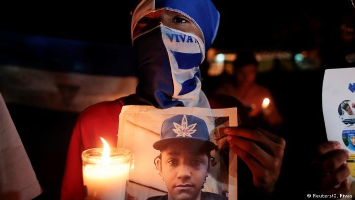 Foto de manifestantes en Nicaragua.