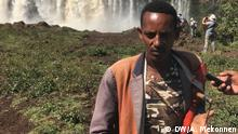 Ethiopia October,, 2019 Azmari (masinko Player) at abay fallls