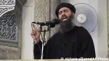 FILE - This Saturday, July 5, 2014 file image made from video posted on a militant website, which has been authenticated based on its contents and other AP reporting, purports to show the leader of the Islamic State group, Abu Bakr al-Baghdadi, delivering a sermon at a mosque in Iraq. The Islamic State group will likely take center stage when more than 140 heads of state of government convene for the U.N. General Assembly the week of Sept. 22. (AP Photo/File) |