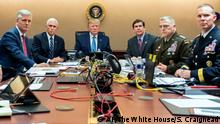 In this photo provided by the White House, President Donald Trump is joined by from left, national security adviser Robert O'Brien, Vice President Mike Pence, Defense Secretary mark Esper, Joint Chiefs Chairman Gen. Mark Milley and Brig. Gen. Marcus Evans, Deputy Director for Special Operations on the Joint Staff, Saturday, Oct. 26, 2019, in the Situation Room of the White House in Washington. monitoring developments as U.S. Special Operations forces raid that took out Islamic State leader Abu Bakr al-Baghdadi. (Shealah Craighead/The White House via AP)
