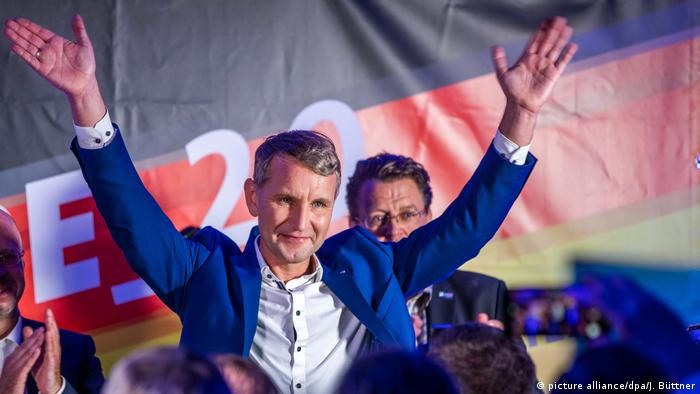 Björn Höcke, the AfD's top candidate in Thuringia, celebrates after preliminary results showed the far-right party getting second place in the German state