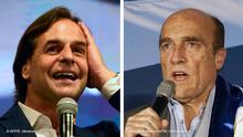 Bildkombo Uruguay Präsidentschaftskandidaten Luis Lacalle Pou und Daniel Martínez