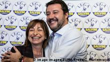October 28, 2019, Parugia, Italy: Matteo Salvini, leader of the political party Lega speaks to the media with newly elected governor of the region Donatella Tesei after the victory in the regional elections of Umbria. Parugia Italy PUBLICATIONxINxGERxSUIxAUTxONLY - ZUMAs197 20191028zaas197017 Copyright: xCosimoxMartemuccix