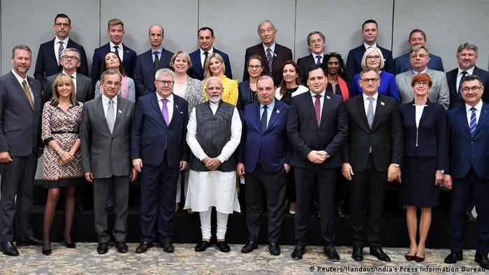 Indian Prime Minister Narendra Modi with members of the European Union delegation