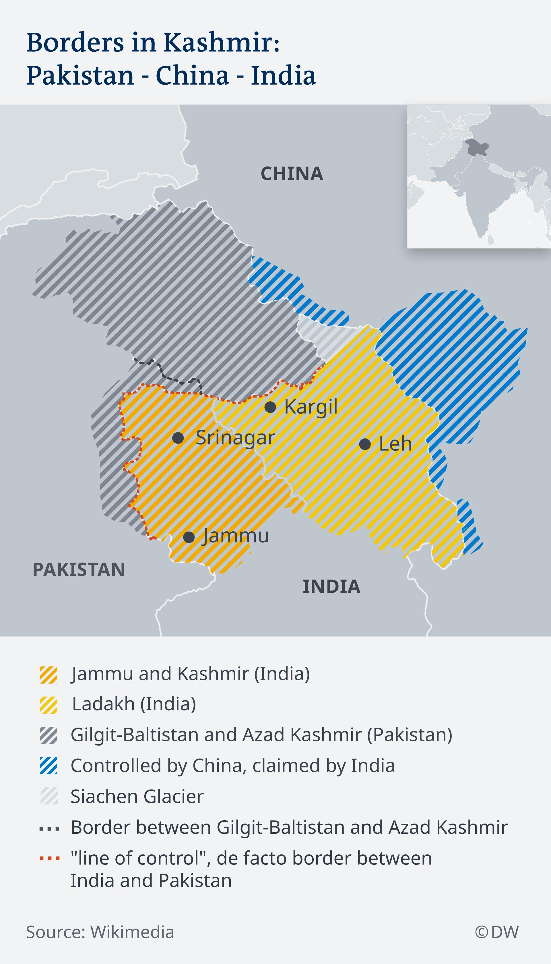 A map of conflicting claims in Kashmir