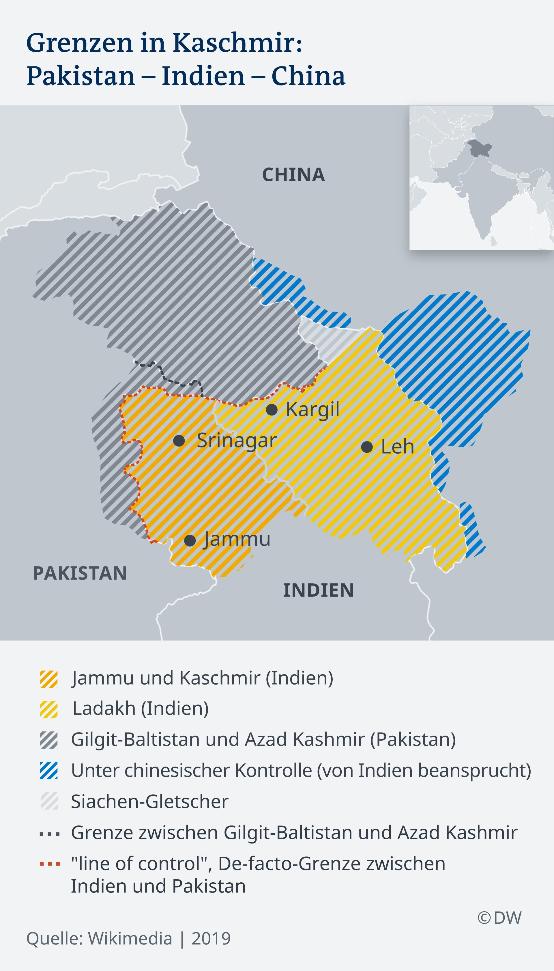 Infografik Karte Grenzen in Kaschmir DE