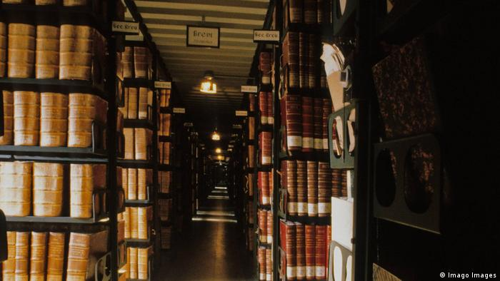 Shelves with archived documents at the Vatican Apostolic Archive.