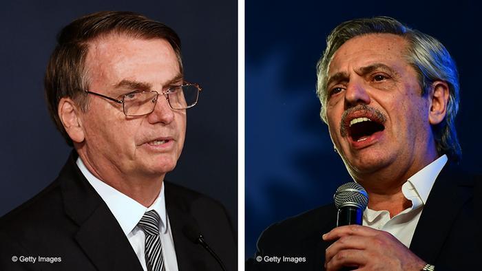El presidente brasileño, Jair Bolsonaro, y el recién presidente elegido en Argentina, Alberto Fernández.