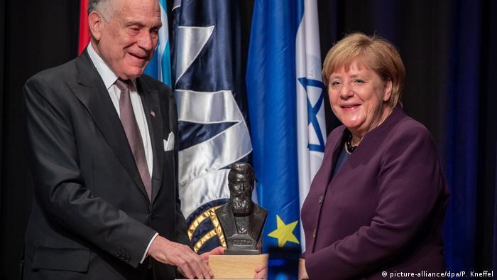 German Chancellor Angela Merkel receives the Theodor Herzl Prize in Munich