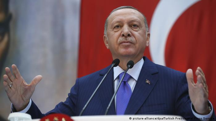 Turkish President Recep Tayyip Erdogan holds a speech