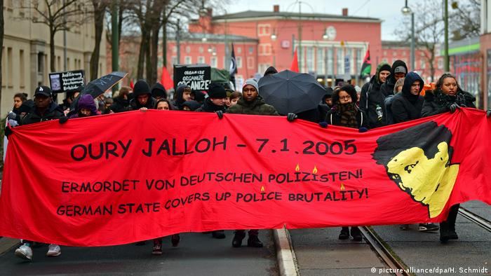 Rally in January alleging police violence in the case of Oury Jalloh