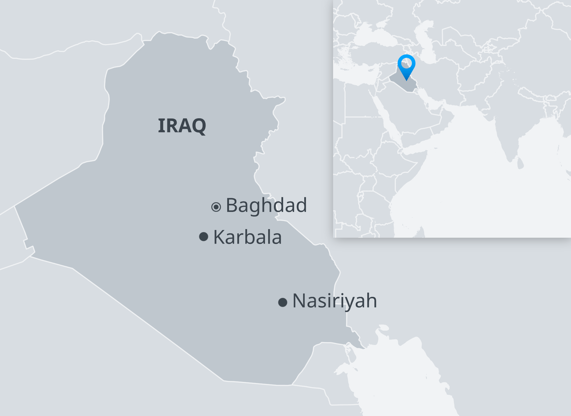 Map showing position of Baghdad, Karbala and Nasiriyah in Iraq