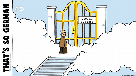 A cartoon by Fernandez shows a man standing before the gates of heaven which have a sign on them reading, 'Closed Sundays.'