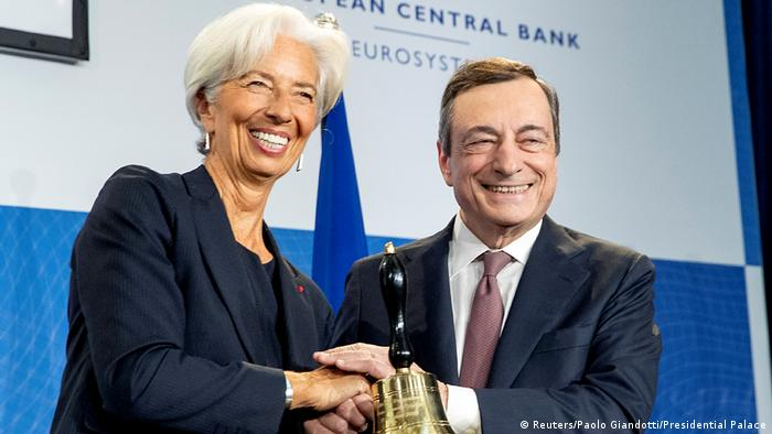 Christine Lagarde and Mario Draghi during the symbolic handover of the ECB presidency at the European Central Bank headquarters in Frankfurt, Germany