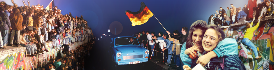 Germans celebrate the fall of the Berlin Wall on Nov. 9, 1989.