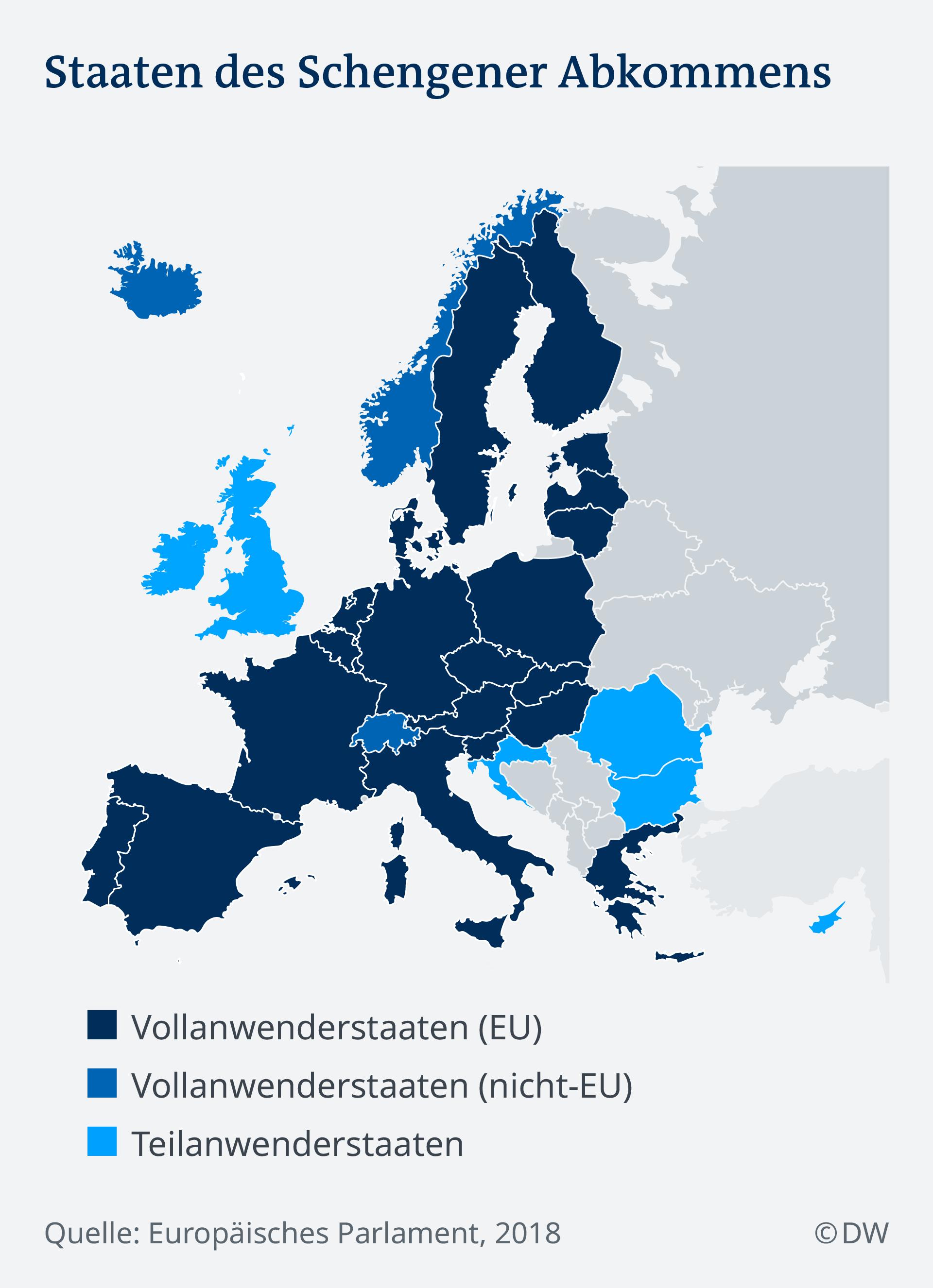 Infografik Schengen Mitgliedstaaten Länder Karte 2018 DE