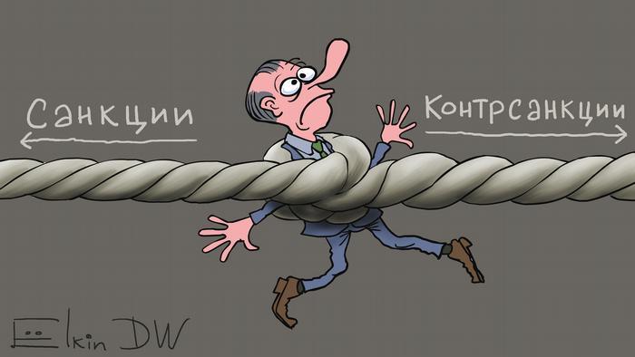 Карикатура Сергея Елкина на тему санкций и контрсанкций