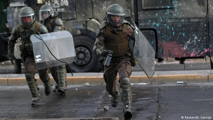 Riot police in Chile