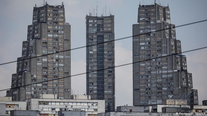 Эти бетонные монстры стоят в белградском районе Конярник.