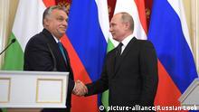 Russische Präsident Vladimir Putin trifft mit ungarischem Ministerpräsident Viktor Orban