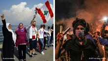 Bildkombo Politische Proteste im Irak / Anti-Regierungsproteste im Libanon