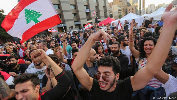 Libanon Feier nach Rücktritt Saad Hariri, Ministerpräsident