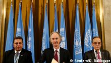 Schweiz Genf | Treffen zum neuen Verfassungsausschuss Syriens | Ahmad Kuzbari, Geir Pedersen und Hadi al-Bahra