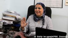 7.10.2011, Kairo, Ägypten, Egyptian political activist Israa Abdel Fattah, a potential candidate for the Nobel Peace Prize, sits at her office in Cairo on October 2, 2011. Asle Sveen, a historian specialised in the prize, told AFP he thought the five committee members could on October 7, 2011 reward activists behind the Arab Spring, which led to the overthrow of autocratic regimes in Tunisia, Egypt and Libya. AFP PHOTO / KHALED DESOUKI (Photo credit should read KHALED DESOUKI/AFP via Getty Images)