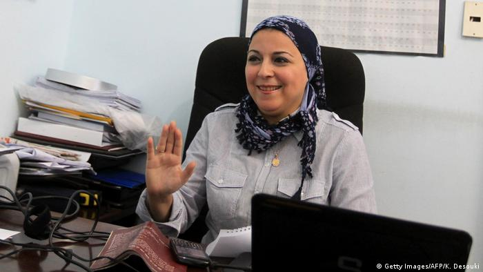 A picture of Egyptian activist Esraa Abdel-Fattah in her office.