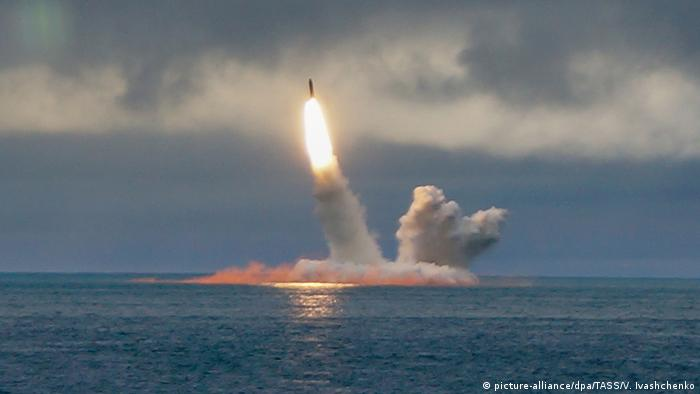 The Borei-class nuclear-powered submarine K-535 Yuri Dolgoruky launches an RSM-56 Bulava ballistic missile