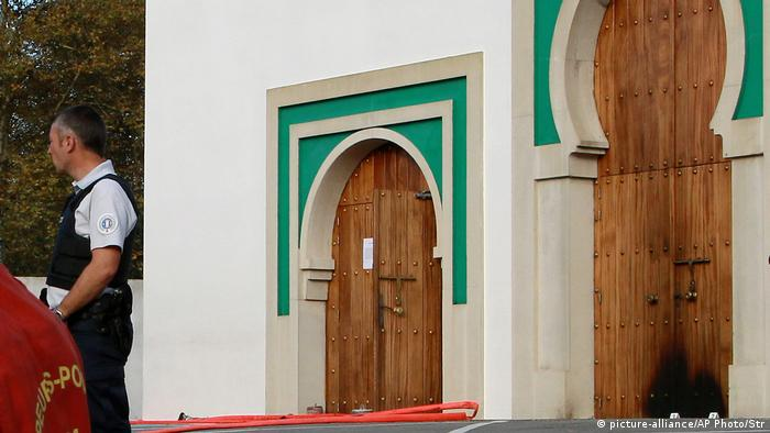 Police and rescue workers at a mosque in the southwestern French city of Bayonne