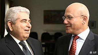 Cypriot President Dimitris Christofias and Turkish Cypriot leader Mehmet Ali Talat