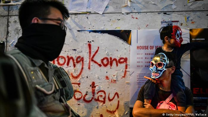Protesters wear face masks in Hong Kong