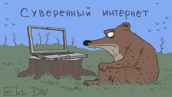 Cartoon by Russian DW cartoonist Sergey Elkin, showing a bear in the forest looking at a laptop displaying the same forest.