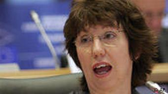 European Commissioner designate for the position of High Representative for Foreign Policy Catherine Ashton speaks during a hearing at the European Parliament in Brussels on Monday Jan. 11, 2010. Catherine Ashton, the 53-year-old former European Union trade commissioner and leader of Britain's House of Lords, was expected to face intensive questioning at the European Commission confirmation hearings, which began in Brussels on Monday. (AP Photo/Virginia Mayo)