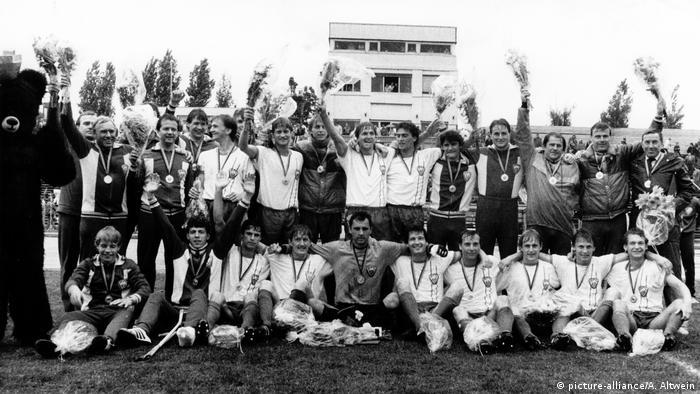 Archive photo: the BFC Dynamo Berlin team celebrate winning the 1986 DDR Oberliga title.