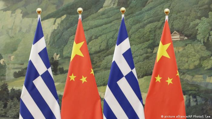 Chiense and Greek flags