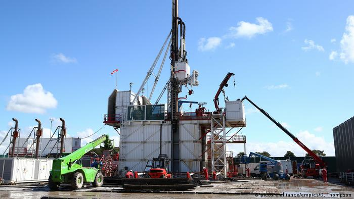 Fracking oil rig in United Kingdom