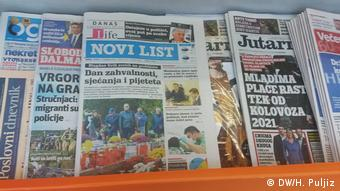 Kroatien l Kroatische Tageszeitungen - u.a. Novi List (DW/H. Puljiz)