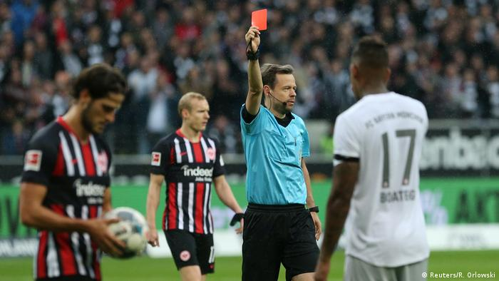 Jerome Boateng was sent off in Bayern's defeat