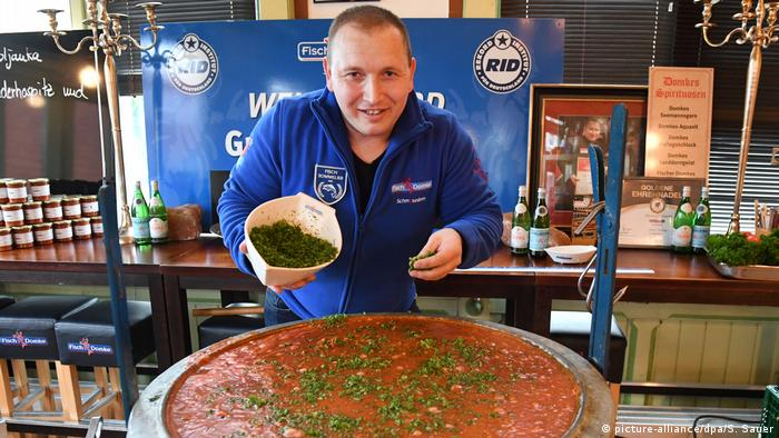André Domke with his record-breaking portion of soup