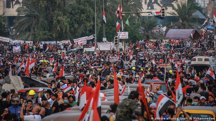 Este lunes, prosiguen las movilizaciones en Bagdad y otras zonas del país por undécimo día consecutivo.
