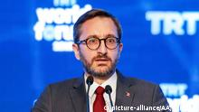 ISTANBUL, TURKEY - OCTOBER 21: Turkey's Communications Director Fahrettin Altun makes a speech during the opening of TRT World Forum 2019 to be held under main theme of Globalization in Retreat: Risks and Opportunities, on October 21, 2019 in Istanbul, Turkey. Erhan Elaldi / Anadolu Agency   Keine Weitergabe an Wiederverkäufer.