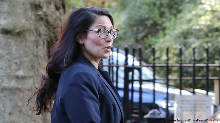 Home Secretary Priti Patel is seen in Downing Street after attending the weekly cabinet meeting