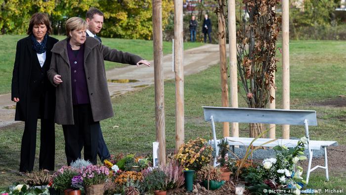 Angela Merkel at a memorial for victims of far-right terrorism in Zwickau