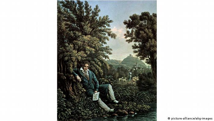 A lithograph from 1834: 'Beethoven by the brook, composing the Pastoral Symphony'