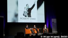 Teresa Enke, Uli Hoeness and NDR journalist Andreas Kaeckell at a Robert Enke Stiftung event in Hannover's Theater am Aegi, November 4, 2019.
