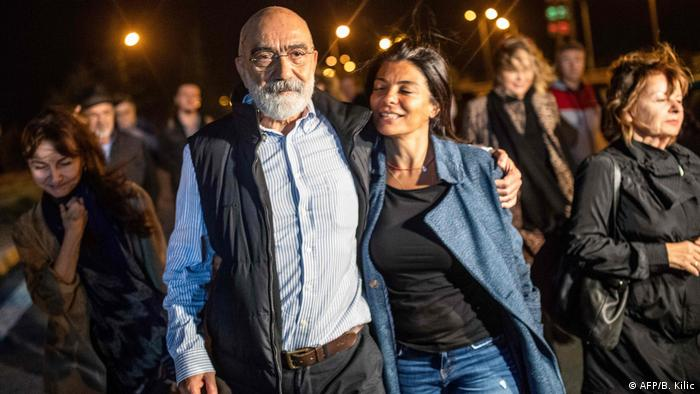 Ahmet Altan and his daughter are reunited following his release on November 4,