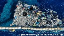 Editorial use only - Handout - The Ocean Cleanup system is successfully collecting plastic waste floating in the Pacific Ocean, announced the Dutch inventor Boyan Salt on October 2, 2019. This system is the second prototype launched after the initial prototype failed. After four months at sea, the first prototype of the Ocean Cleanup system broke apart under the pressure of the wind and constant waves, failing to hold on to any of the plastic that it caught. This second prototype has successfully captured and held debris ranging from the tinniest plastics as small as 1 millimeter to much bigger waste, such as ghost nets, abandoned fishing gear. The new Ocean Cleanup system prototype has a parachute anchor to improve the device's function. Like the original prototype, the second version of the system is a U-shaped barrier with a net-like skirt that hangs below the water's surface. It moves with the current and gathers up faster moving plastics as they float by. However, the system has been carefully designed not to negatively impact wildlife, allowing for fish and other animals to swim beneath it. Photo by The Ocean Cleanup via ABACAPRESS.COM |